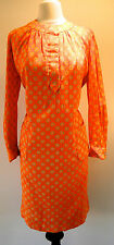 1970 Deadstock New Vintage Canadian Designer Polka Dot Split Front Shift Dress L