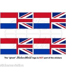 OLANDA-UK Bandiera Onda Olandese-Regno Unito Adesivi in Vinile 50mm Stickers x4