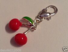 Charm spacer bead 3D red  cherry 1 clip on fit link bracelet CN11