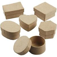 36 Assorted Squares/Heart/Circle Shaped Craft Storage Brown Paper Mache Decorate