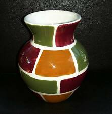 """pre-owned EUC Glass Vase with Multi-colored Shapes 5.50"""" Tall"""