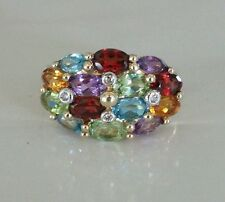 Multi-Gemstone / Diamond Ring Set In 10kt Yellow Gold Size 7