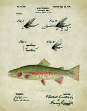 Fishing Lure Patent Poster Art Print Antique Trout Reels Fly Flies Fish PAT148