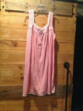 Eileen West Pink White Striped Night Gown Knit Cotton Size Small
