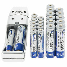 12x 2A AA 3000mAh + 12x AAA 1000mAh 1.2V NI-MH Rechargeable Battery BTY+Charger