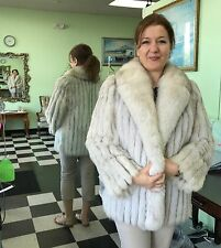"Genuine Finland Blue (Arctic) Fox Fur Jacket 32"" Coat Size 10 Gorgeous!"