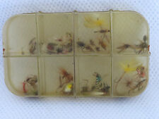 Vintage Wheatley 8 compartment  Celuloid Fly Box with Trout Flies.