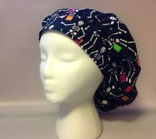 Surgical Scrub Hat, Bouffant w/ Cordlock:  TRICK OR TREATING SKELETONS
