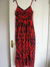 KUSHI Azul Marino Negro Naranja Rosa De Algodón Vestido Maxi. UK 12 Reg, EUR 38, US 8. ex con