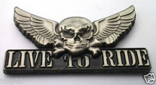 *** SKULL WINGS LIVE TO RIDE *** Biker Hat Pin P13001 EE