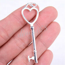 925 Sterling Silver Unwritten Heart-Top Love Key Shaped 61 mm Large Pendant H438