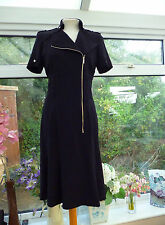 "STUNNING ""KAREN MILLEN"" BLACK ZIP FRONTED 1940's STYLE MILITARY LOOK DRESS Sz 10"