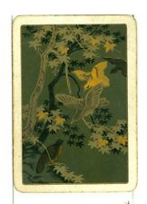 "Single Vintage Old Wide Playing Card, ""Bird/Tree"" Green/Gold"