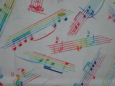 FUNKY MUSIC LINES NOTES BRIGHT COLORS WHITE BACKGROUND COTTON FABRIC FQ