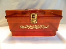 VINTAGE WILSON 'WIL-HOLD' CLEAR AMBER 9 ½ INCH SEWING BOX WITH TRAY