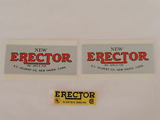 Erector set labels for Bolier and Motor- Remakes Copies
