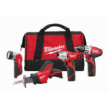 Milwaukee 2498-24 M12 12-Volt Cordless Power Lithium-Ion 4-Tool Combo Kit
