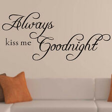 New ALWAYS KISS ME GOODNIGHT Quote Removable Vinyl Wall Sticker Decal Decor Art