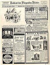 Savoy Hotel C. P. Goerz Berlin Anton Pichler Graz Patent Wecker Elberfeld...1893