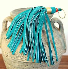"MURKA TURQUOISE EMERALD LEATHER SUEDE TASSEL FRINGE 6.5"" PURSE BAG KEY CHARM FOB"
