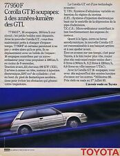 Publicité Advertising 016 1985 Toyota Corolla GT16 soupapes
