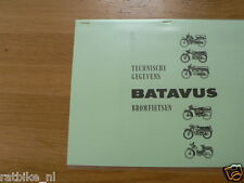 B0606 BATAVUS---TECHNICAL IINFO BATAVUS BROMFIETSEN----MODEL 1958/64 LAST ONE