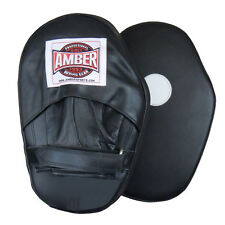 Amber Boxing Leather Focus Pads Punch Mitts - Black