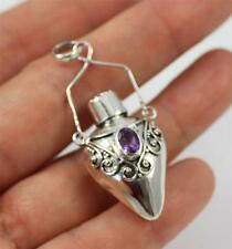 Unusual 925 Sterling Silver & Purple Amethyst Ghau/Prayer Box Pendant +box