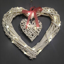 30cm LED light White Shabby Chic Wicker Hanging Hearts Wreath Valentine Gisela