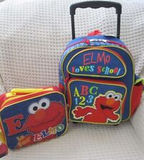 """Sesame Street Tickle Me Elmo 12"""" Rolling Backpack & Matching Lunch Bag-New!"""