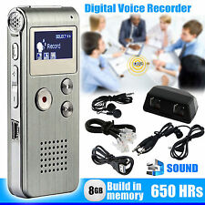 MP3 Player Digital Audio Voice Sound Recorder 8GB 650 hr Rechargeable Dictaphone