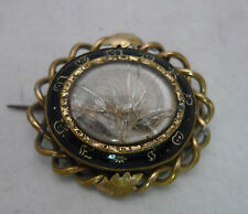 Victorian Gold Plated & Enamelled Mourning Brooch