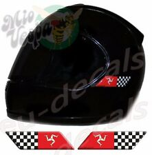 Helmet Isle Of Man and Checkered Flags 3D Decals Set Left & Right sticker racing