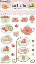 DOVECRAFT GLITTER STICKERS - TEA PARTY  DCST006 - CAKES CUPCAKES - TEA FOR TWO