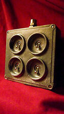 """Vintage Industrial Light Switch """"Crabtree"""" 4 Four Gang Galvanized Cast Iron RARE"""