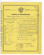 U555-LOMB.VENETO-CARTA D'ISCRIZIONE VALIDA COME PASSAPORTO PER L'INTERNO