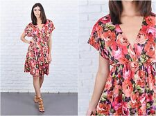 Vintage 80s Floral Print Dress Red Blouson Slouchy Draped Knee length XS S