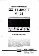 Utilisation Instruction avec schéma-Instructions pour petits Hummel telewatt v-112 s