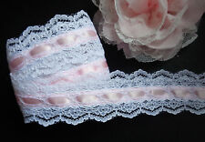 Double Sided Beaded Lace, 1+1/2 inch wide white/pink selling by the yard