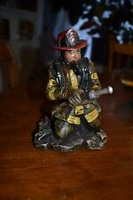 LIFELIKE FIRE FIGHTER FIREMAN IN GEAR WITH HOSE ON KNEES STATUE FIGURINE GIFT