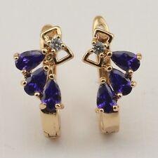 Unusual Purple Amethyst Fashion Jewelry Gift Gold Filled Huggie Earrings er917