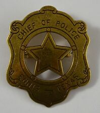 Chief of Police Badge. Ennis, Texas - Ranger/Police/Cowboy Wild West Western US