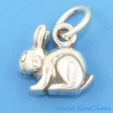 CUTE BUNNY RABBIT BUNNIE 3D .925 Solid Sterling Silver Charm MADE IN USA