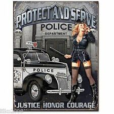 "POLICE DEPT, POLICE CAR & PIN-UP GIRL, VINTAGE-STYLE STEEL WALL SIGN 12.5""X 16"""