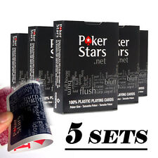 5x Jumbo Index PokerStar 100% PLASTIC Deck Playing Cards Poker Standard Casino