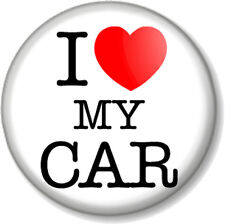 """I Love / Heart my CAR 1"""" 25mm Pin Button Badge Motor Lover Vehicle Automobile"""