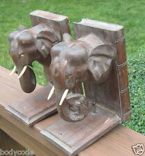 Antique Pair of Carved Wooden Elephant Heads Bookends Beautiful Patina Victorian