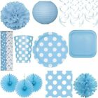 Dots Party Light Blue Boy 1. Birthday Birthday Baby Decoration Disposable Dishes