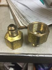 (2) Natural Propane LP Gas Fitting 3/8 Flare 3/4 Female NPT Brass fittings
