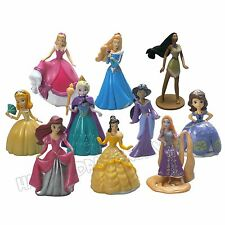 10 Pcs Disney Princess Figurines Character Toys Doll Cake Toppers Action Figures